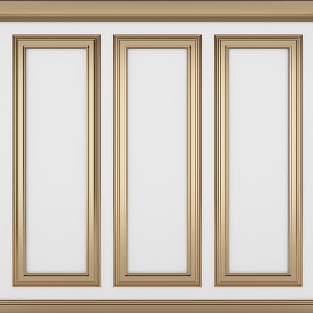 decoration classic white wall ,3d render  Archivio Fotografico