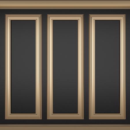 decoration classic black wall ,3d render