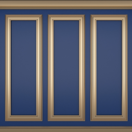 decoration classic blue wall ,3d render