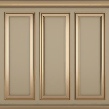 decoration classic cream wall ,3d render