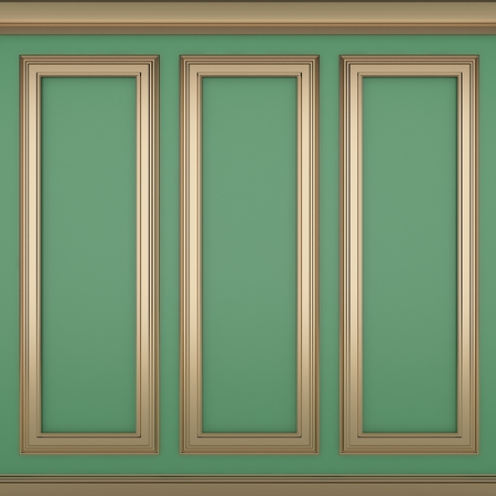 decoration classic green wall ,3d render  Archivio Fotografico