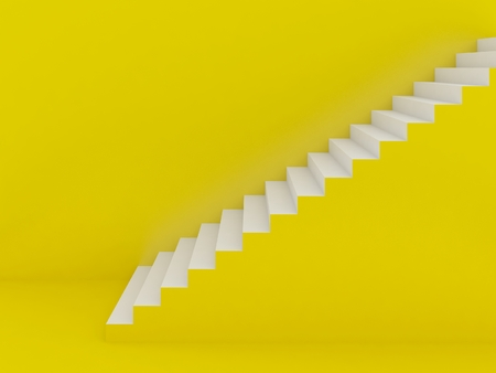 white stairs in yellow background ,3d rendering