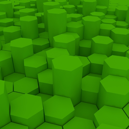 Green hexagon pattern backgrond. 3d rendering Archivio Fotografico - 100037710