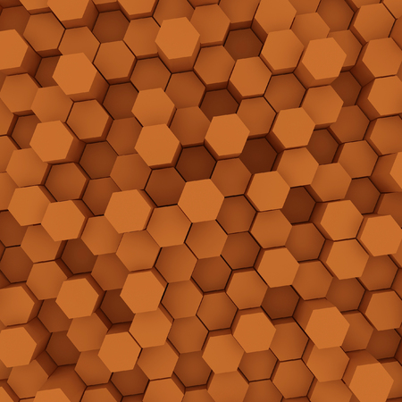 Orange hexagon pattern backgrond. 3d rendering Archivio Fotografico - 100037714