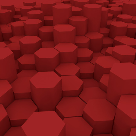 Red hexagon pattern backgrond. 3d rendering Archivio Fotografico - 100037719