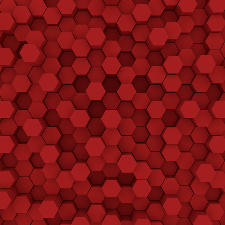 Red hexagon pattern backgrond. 3d rendering Archivio Fotografico - 100037417
