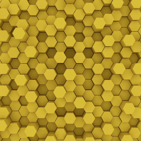 Yellow hexagon pattern backgrond. 3d rendering Archivio Fotografico - 100037419