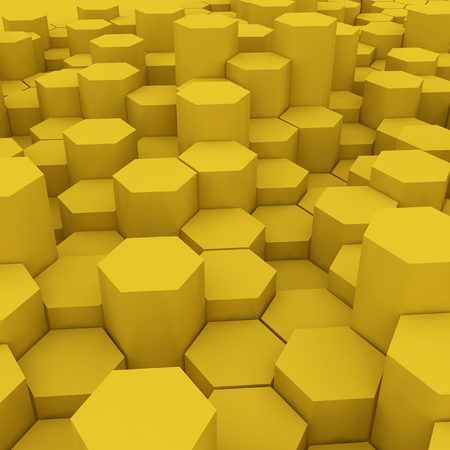 Yellow hexagon pattern backgrond. 3d rendering Archivio Fotografico - 100037722