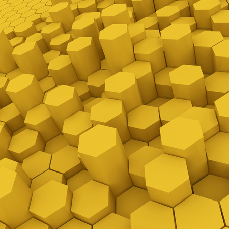 Yellow hexagon pattern backgrond. 3d rendering Archivio Fotografico - 101106471