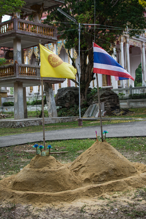 Sand pagoda that people has create in Songkran Festival at Thailand Archivio Fotografico - 100752755