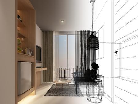 sketch design of interior living room,3d rendering Archivio Fotografico - 101317267