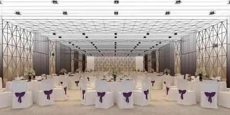 banquet hall 3d,rendering Archivio Fotografico - 101412738