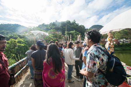 Pilok, Thong Pha Phum, Kanchanaburi, Thailand - December 10, 2018: Visitors walk in  E-Tong village,Thailand