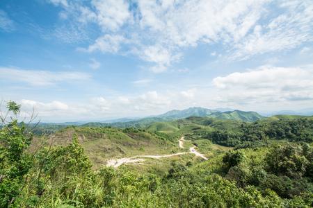 high angle view over Ban I-Tong village, Pilok, Thong Pha Phum. Kanchanaburi, Thailand in afternoon