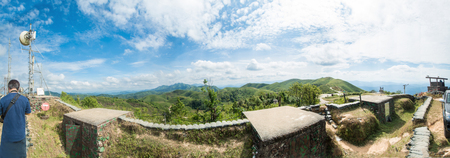 high angle view over Ban I-Tong village, Pilok, Thong Pha Phum. Kanchanaburi, Thailand in afternoon