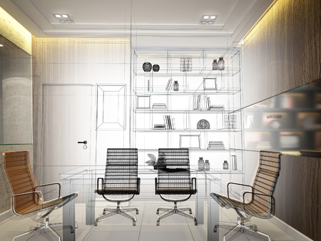 sketch design of interior conference room, 3d rendering Foto de archivo - 115491343