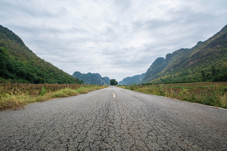 Road to the Mountains in Uthai thani .Thailand