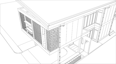 architecture building 3d - Vector