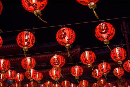 Chinese new year lanterns in chinatown,Thailand