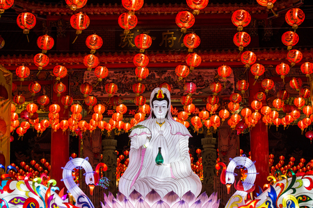 The goddess of compassion and mercy lantern ,Chinese new year lanterns in chinatown,Thailand