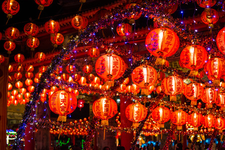 Chinese new year lanterns in chinatown,Thailand