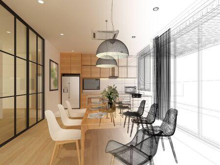 disegno di schizzo di sala da pranzo interna, rendering 3d Archivio Fotografico