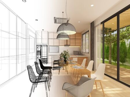 sketch design of interior dining ,3d rendering Stock Photo - 125023993