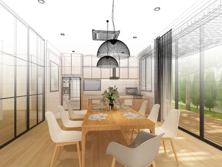 sketch design of interior dining ,3d rendering Stock Photo - 125023994