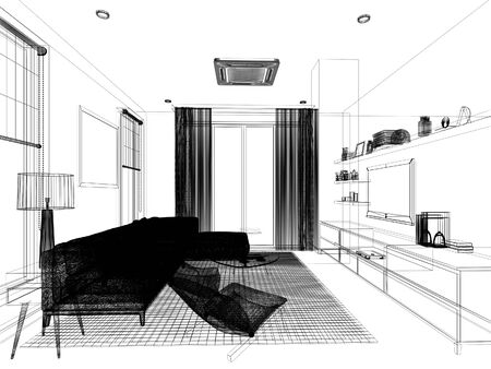 sketch design of living ,3d rendering Stock Photo - 125024311