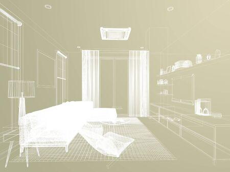 sketch design of living ,3d rendering