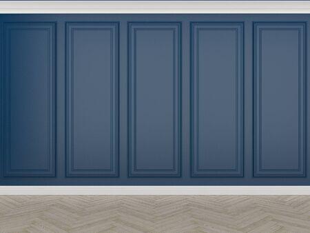 classic blue wall with wood floor, 3d render Reklamní fotografie