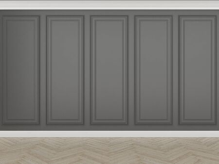 classic black wall with wood floor, 3d render