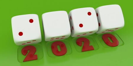 2020 Merry Christmas and Happy New Year ,3d render of a white dice on green background