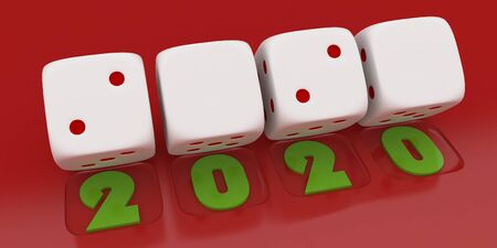 2020 Merry Christmas and Happy New Year ,3d render of a white dice on red  background