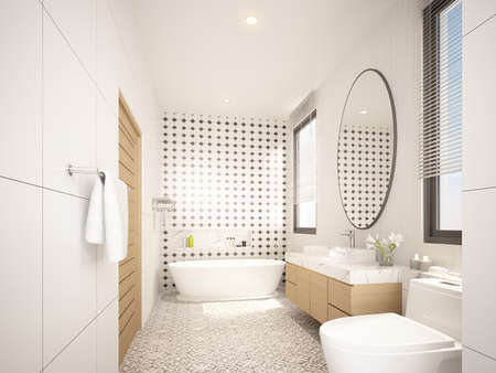 sketch design of interior bathroom ,3d rendering