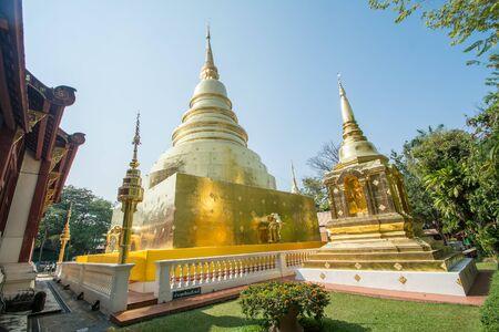 Wat Phra Singh temple. Lanna art of Chiang Mai,Thailand. Foto de archivo