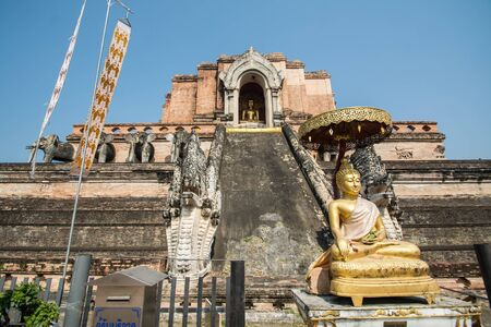 Old pagoda of Wat Chedi Luang (temple of the big royal stupa), located in Chiang Mai, Thailand. Wat Chedi Luang was built in 1383 and the structure collapsed after an earthquake in 1545.
