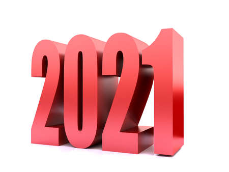New Year 2021 ,3d rendering on white black ground