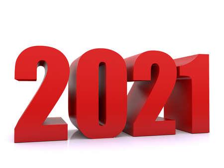 New Year 2021 ,3d rendering on white black ground Standard-Bild