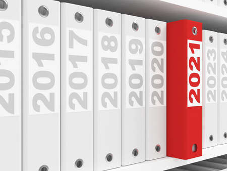 Office Folders  on the shelves. New Year 2021 concept. 3d rendering Stock Photo