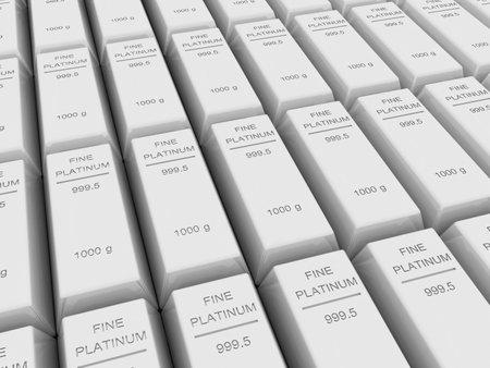 Many platinum bar or ingots ,3d rendering