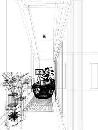 easychair with tree on wood terrace, 3d rendeing