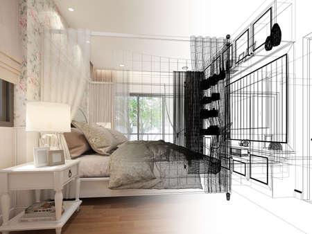 interior design of bedroom,3d rendering