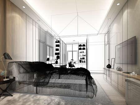 sketch design of interior living room,3d rendering 版權商用圖片
