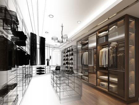 sketch design of interiorwalk-in closet,3d rendering Banco de Imagens