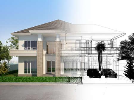 sketch design of house ,3d rendering 版權商用圖片