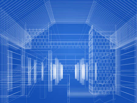 sketch design of interior hall, 3d rendering 版權商用圖片