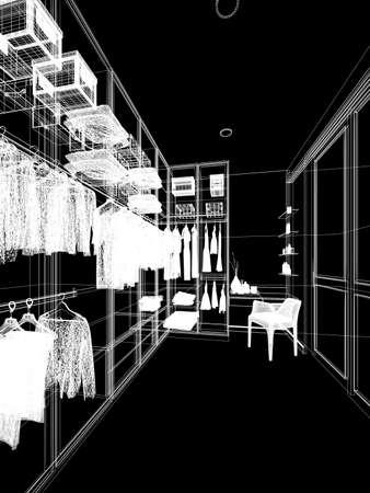 sketch design of interiorwalk-in closet,3d rendering