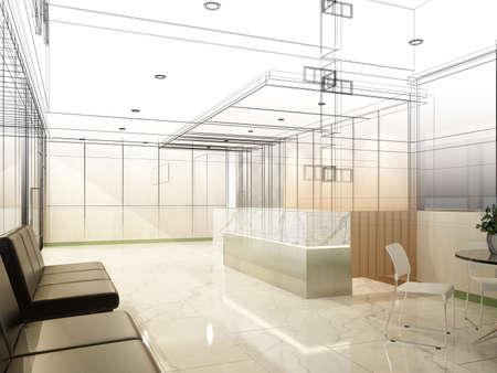 Sketch design of interior reception