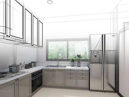 abstract sketch design of kitchen room ,3d rendering